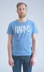 Голубая футболка с логотипом Harm's вид спереди