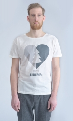 Белая футболка с принтом Love Siberia передний вид