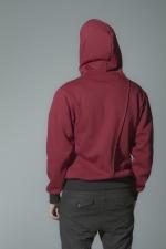 Бордовая толстовка худи с капюшоном на молнии задний вид