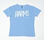 Голубая футболка с логотипом Harm's в увеличенном виде