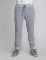 Серые летние спортивные зауженные штаны оригинального кроя с манжетами на поясе