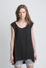 Черная женская летняя футболка платье