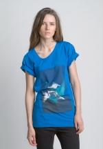 Синяя летняя Футболка с рисунком и асимметричным вырезом