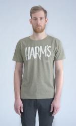 Оливковая футболка с логотипом Harm's вид спереди