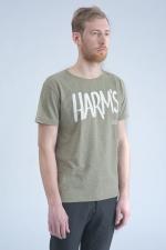 Оливковая футболка с логотипом Harm's вид сбоку