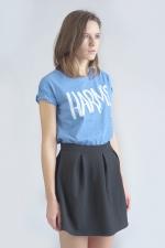 Голубая футболка с логотипом Harm's вид сбоку