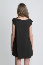 Черная женская летняя футболка платье вид сзади